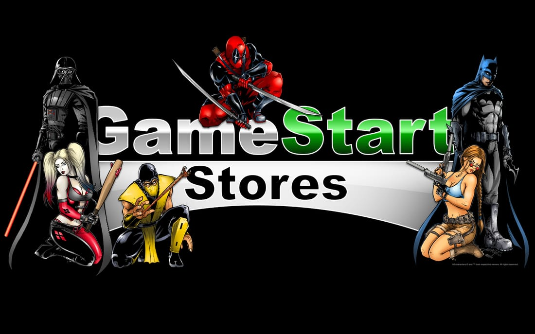 Game Start Stores Logo with video game characters